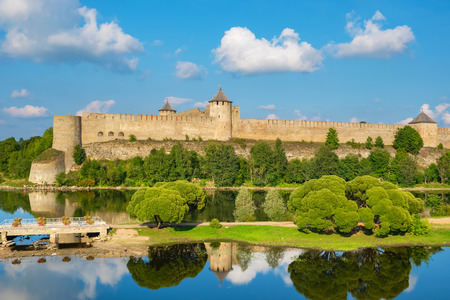 Ivangorod fortress on the border of Russia and Estonia on the bank of river Narva