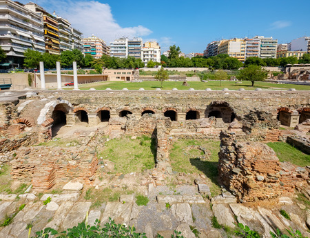 Ruins of ancient Greek Agora (later Roman Forum) in Thessaloniki. Macedonia, Greece, Europe