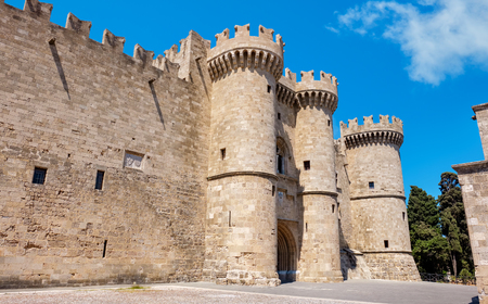 Walls and entrance to the palace of the Grand Masters. Rhodes, Dodecanese Islands, Greece