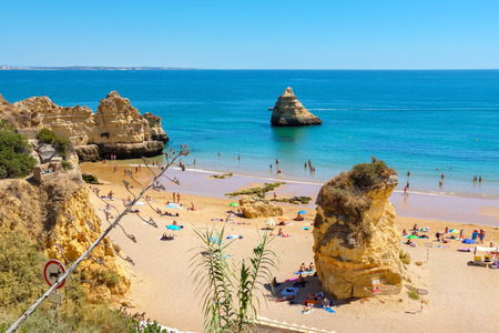 Praia Dona Ana sandy beach near the resort of Lagos. Algarve, Portugal, Europe