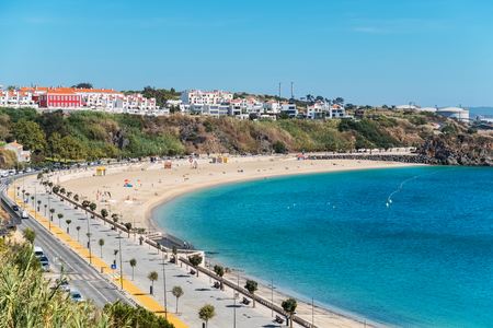 City beach and harbour at Sines. Alentejo, Portugal Stock Photo
