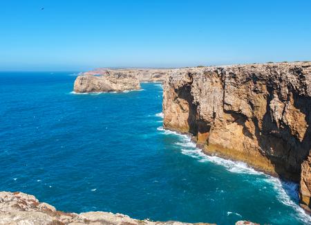 Rocky atlantic coastline at the south west point of mainland Europe. Cape Sao Vicente, Sagres, Algarve, Portugal
