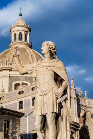 Statue outside the Duomo and Church of the Badia di St. Agata. Catania, Sicily, Italy