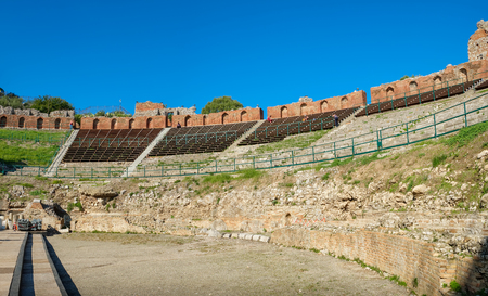 Panoramic view of the ancient Greek Theatre (Teatro Greco) in Taormina. Sicily, Italy Stock Photo