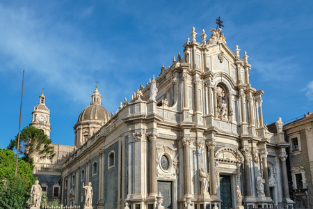 Baroque facade of the Cathedral (Duomo) of Saint Agatha. Catania, Sicily, Italy