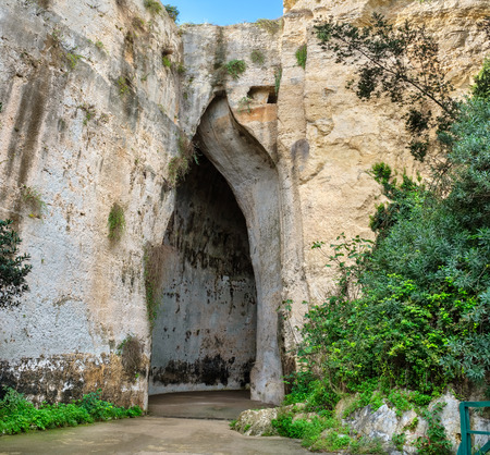 Limeston cave called Ear of Dionysius (Orecchio di Dionigi) in Neapolis archeological site. Syracuse, Sicily, Italy