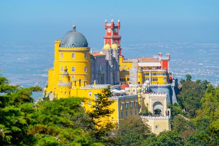 View the towers, turrets and terraces of Pena National Palace (Palacio Nacional da Pena). Sintra, Portugal