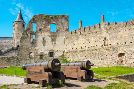 Cannons next to the 13th century Episcopal Castle ruin in Haapsalu. Estonia, Baltic states, Europe