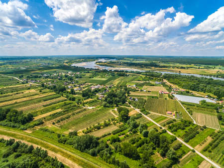 Vistula River and countryside landscape from a birds eye view.