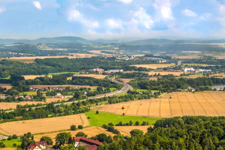 Countryside landscape seen from above. Fields and villages in the Czech Republic. Stock Photo