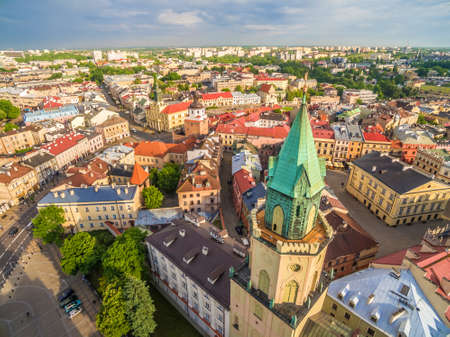 Lublin from the birds eye view. Old Town, Trinitarian Tower, Crown Tribunal and other monuments of Lublin.