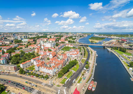 Szczecin old city seen from the birds eye view. Landscape of Szczecin with Odra river and castle. Stock Photo
