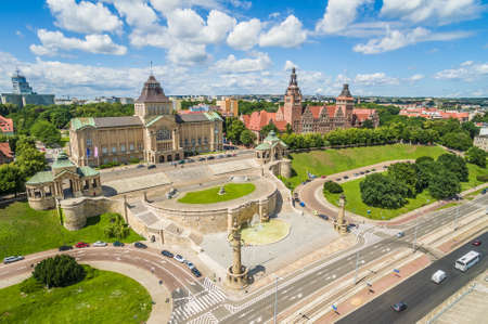 Szczecin aerial view - Chrobry Boulevard. Landscape of Szczecin with the river Odra and the horizon. Editorial