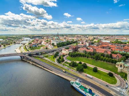 Szczecin aerial view - Chrobry Boulevard. Landscape of Szczecin with the river Odra and the horizon. Stock Photo