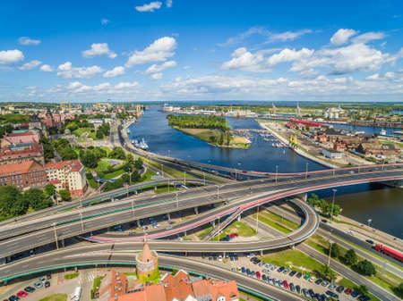 Szczecin old city seen from the birds eye view. Landscape of Szczecin with cathedral and Oder river.