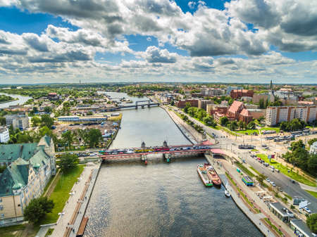 Szczecin aerial view. Odra river and Long bridge linking the Wieleckie embankment with Customs. City landscape.