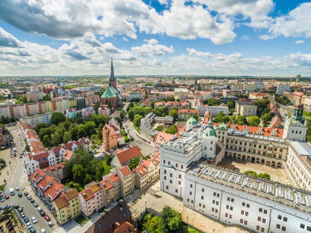 Szczecin - The landscape of the old town from the bird's eye view. Old town, castle and basilica in Szczecin.