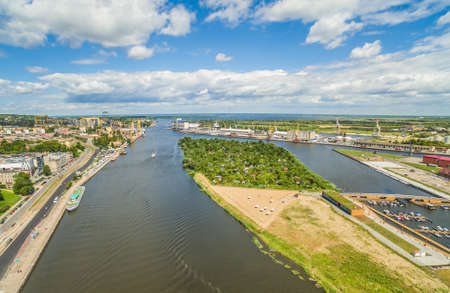 Szczecin - a city landscape with the Oder river. Bulbul Chrobrego and Puck Island from the birds eye view.