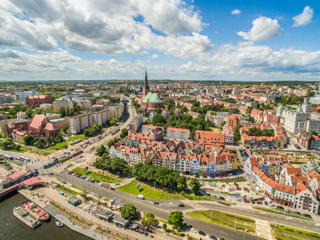 Szczecin - the old town from the birds eye view. Landscape of Szczecin with the Odra side with visible basilica.