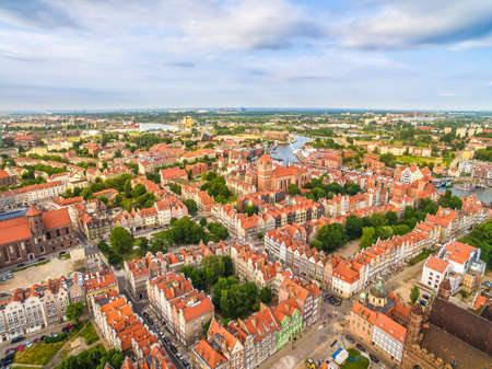 townhouses: Gda?sk - landscape from the air. Old Town of Gdansk from the birds-eye view of the Motlawa River.