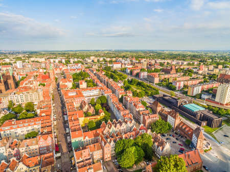 shakespearean: Gdansk old city landscape with air. Aerial view of the streets of Dluga and Gdansk Shakespearean Theater. Stock Photo