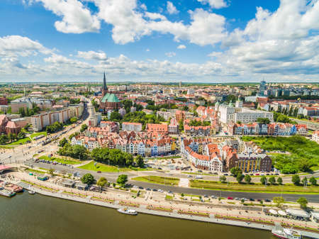 Szczecin - Wielkie embankment from the birds eye view. Landscape of old town with visible basilica and castle.