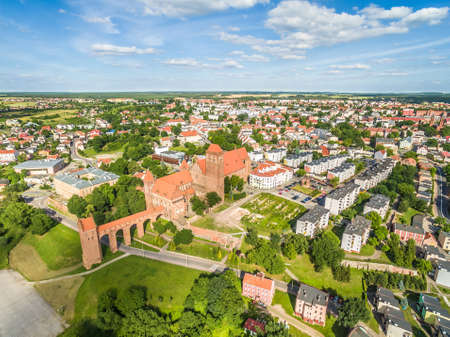 Kwidzyn aerial view. City landscape seen from the air with the castle and Cathedral of Sts. John. Stock fotó
