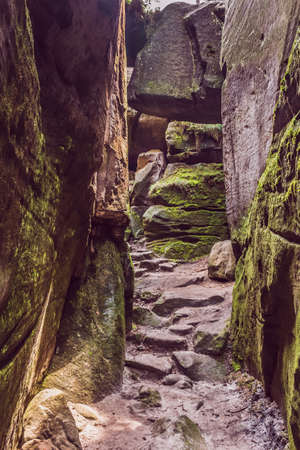 The transition between the rocks. Tourist route in the Czech National Park. Rock maze.