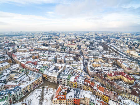 Lublin from a bird's eye view - winter in the old town. Winter city landscape with Grodzka street. Standard-Bild