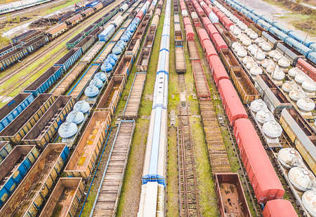 Railway wagons seen from the bird's eye view. A convergent view created by colorful railway wagons. Standard-Bild