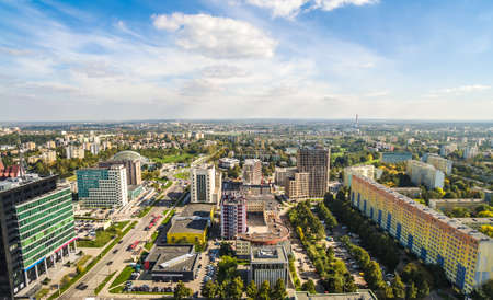 Lublin area of ??Tomasz Zan's street. Landscape of Lublin from bird's eye view. A city landscape with horizon and sky. Standard-Bild