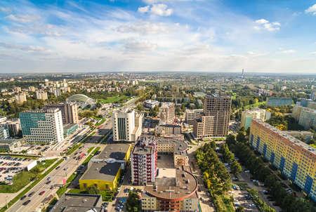 Lublin - the city landscape at Tomasz Zana Street, seen from a bird's eye view. Standard-Bild