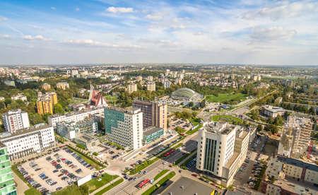 Lublin - a city from a bird's eye view. The city landscape with Tomasz Zana street.