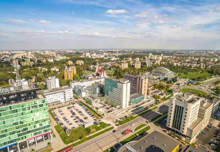 Lublin - the city landscape from the air. Street of Tomasz Zan seen from the bird's eye view.