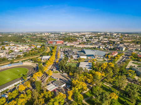 Lublin - the city landscape from the bird's eye view. Neighborhood of Aleja Zygmuntowska in Lublin with a visible stadium and Aqua.