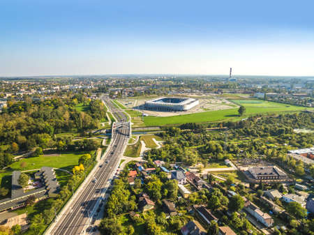 Lublin from a bird's eye view. The city landscape with Musical street, the 700 Lecia bridge and the stadium.