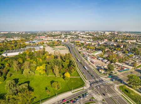Lublin - the city landscape from the bird's eye view. People's Park and around Lublin's July Street 80. Standard-Bild