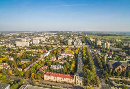 Lublin - bird's eye view of Bronowice. The surroundings of Majdak's Martyrs Street, seen from the air. Standard-Bild