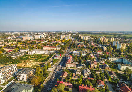 Lublin landscape. View from the bird's eye view. Surroundings of the Majdanek Martyrs' Way.