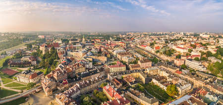 Lublin - aerial panorama of the old town. Tourist part of the city of Lublin with visible monuments.