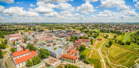 Zamosc - Panorama aerial view of the old city. Polish landscapes from a bird's eye view. Zamosc - the historic old town.