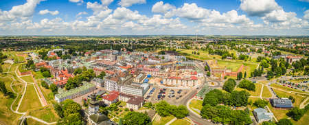 Zamosc - Panorama of the old town from a bird's eye view. Landscape historic part of Zamosc.