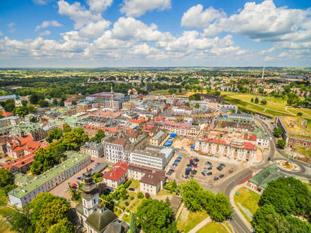 Zamosc from a bird's eye view. The view of the old town from the air.