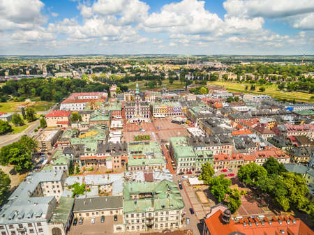 Zamosc from a bird's eye view. A city landscape with a visible view of the air.