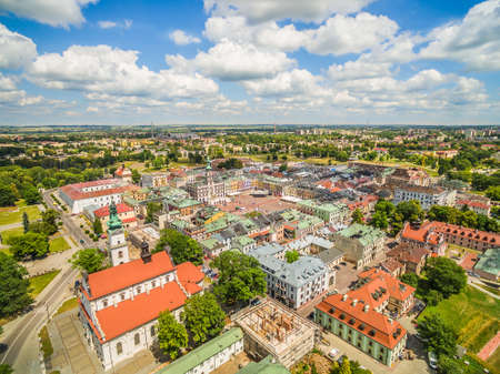 Zamosc - the old city from the air. A city landscape with a visible market and town hall.