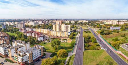 Lublin seen from the air. Landscape of the city near Aleja Mieczys?aw Smorawi?ski in Lublin. Standard-Bild