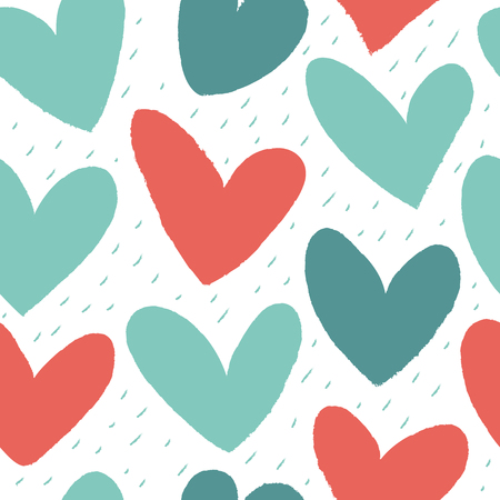 scrap: Seamless pattern with hearts of red and green colors.