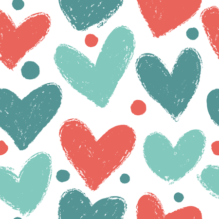 Seamless pattern with hearts of red and greencolors. Illustration