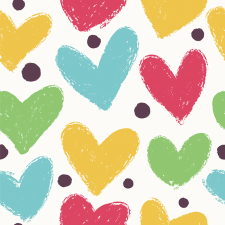 Seamless heart background in pretty colors. Great for Baby, Valentines Day, Mothers Day, wedding, scrapbook, surface textures. Illustration