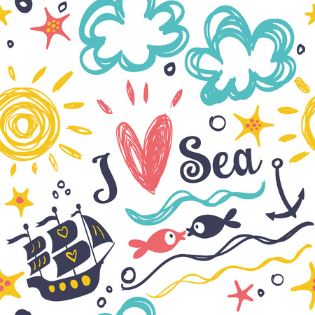 ship anchor: I love the sea. Summer and cheerful background with fish and boat.